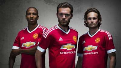 Ashley Young; Juan Mata; Daley Blind Manchester United 2015-16 home kit