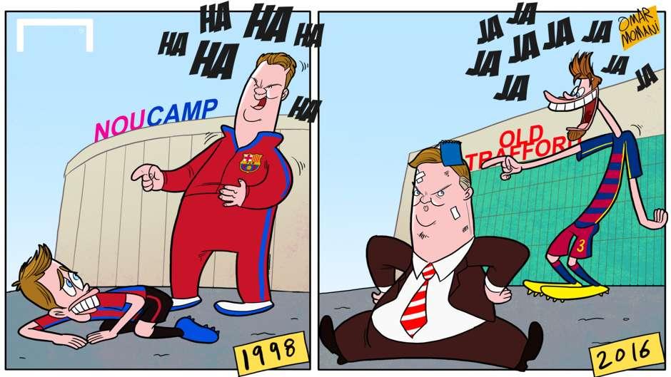 Cartoon Gerard Pique Louis van Gaal