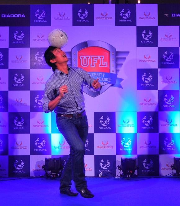 Bhaichung Bhutia at the launch of University Football League (UFL)