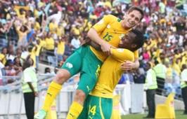 Dean Furman celebrates his goal with Bongani Khumalo