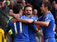 EPL - Manchester United v Chelsea,  Juan Mata, Oscar and Cesar Azpilicueta