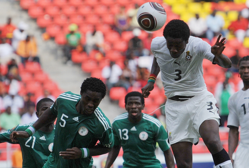 Asamoah Gyan scores against Nigeria Afcon 2010
