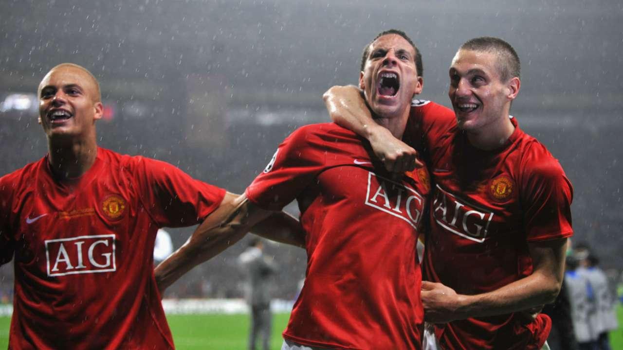 Rio Ferdinand Nemanja Vidic Wes Brown Manchester United 2008