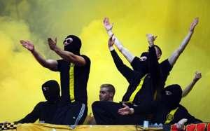 Fans from Borussia Dortmund at Schalke