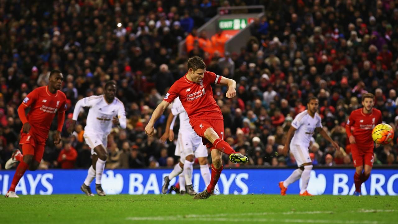 Liverpool v Swansea - James Milner penalty