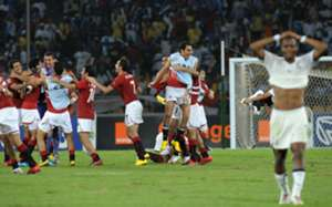 Egypt's National team celebrates their victory against Ghana Africa Cup of Nations 2010 final match