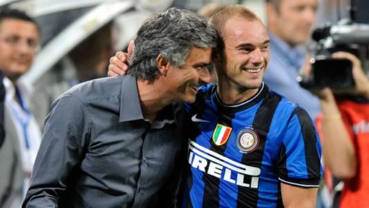 Jose Mourinho Wesley Sneijder Inter Serie A 29082009
