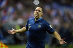 Franck Ribery celebrates scoring France's opener against Finland