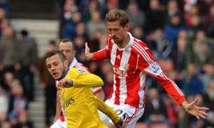 Jack Wilshere Peter Crouch Stoke City Arsenal Premier League 312014
