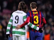 Giorgios Samaras Celtic Gerard Pique Barcelona Champions League 12112013