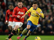 Mesut Ozil; Wayne Rooney Manchester United vs Arsenal English Premier League 11102013