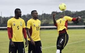Awal Mohammed, Christian Atsu at training - Ghana at 2013 Afcon