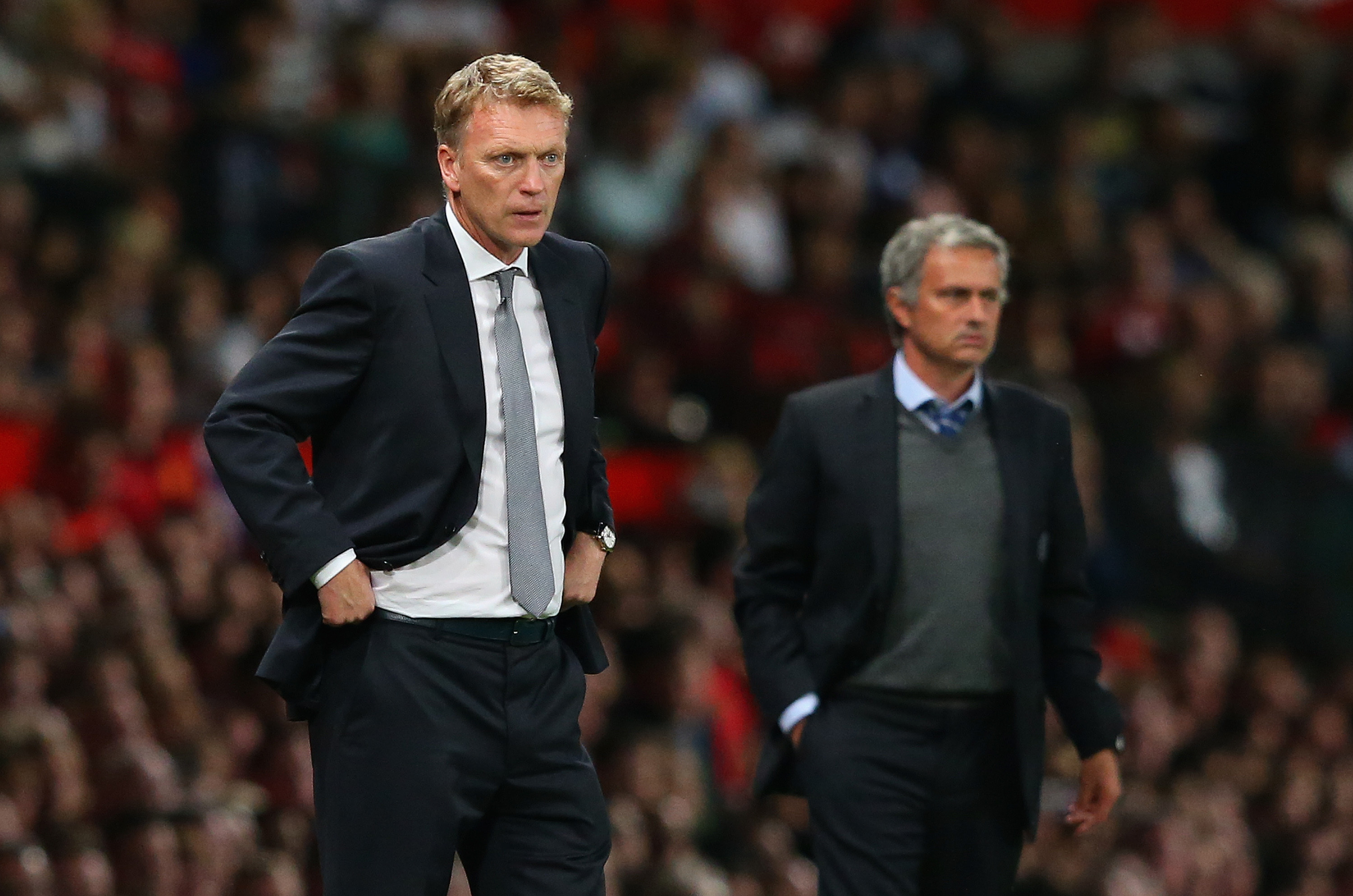 Manchester United manager David Moyes and Chelsea's Jose Mourinho