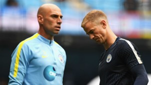 Willy Caballero and Joe Hart Premier League Man City v Sunderland