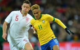 Neymar, Gary Cahill - England x Brazil