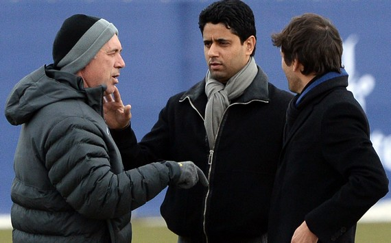 Carlo Ancelotti & Nasser Al-Khelaifi & Leonardo (Paris SG)
