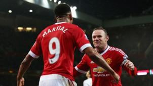 Wayne Rooney & Anthony Martial Premier League Manchester United v Swansea 010215
