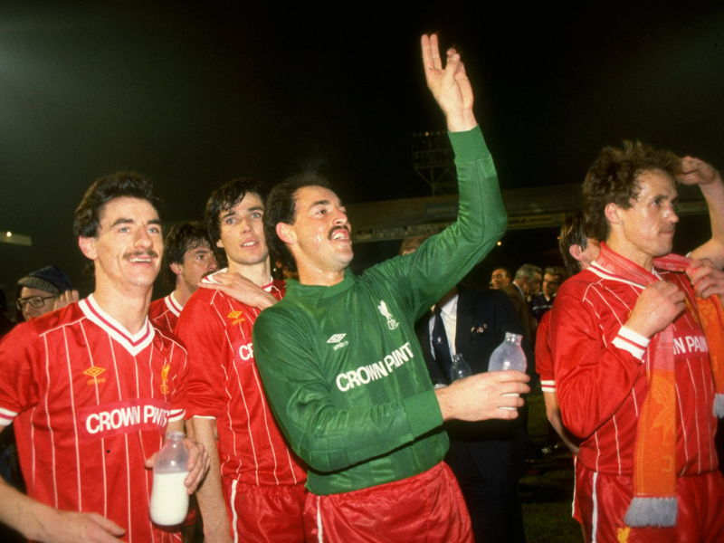 Ian Rush, Alan Hansen, Bruce Grobbelaar and Phil Neal of Liverpool