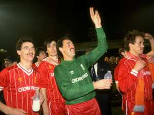 Ian Rush, Alan Hansen, Bruce Grobbelaar and Phil Neal of Liverpool
