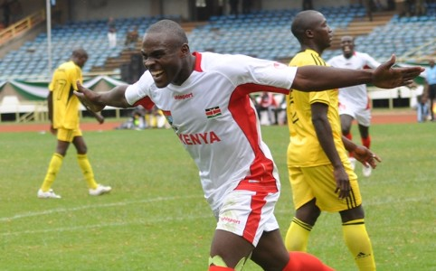 Ulinzi striker Kevin Amwayi celebrating his goal against Uganda.