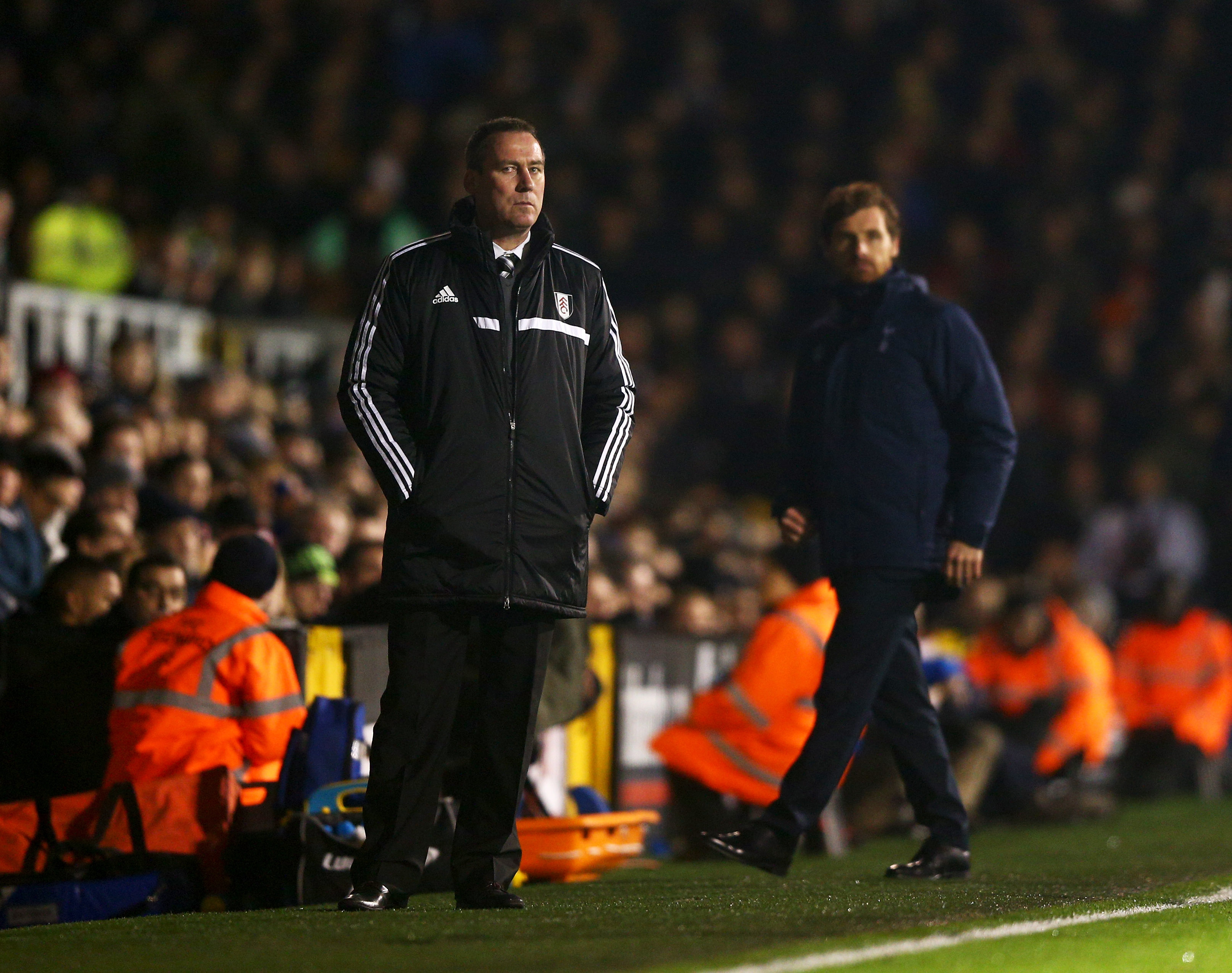 Fulham head coach Rene Meulensteen (L)