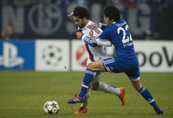 Atsuto Uchida Mohamed Salah Schalke v Basel UEFA Champions league 12112013
