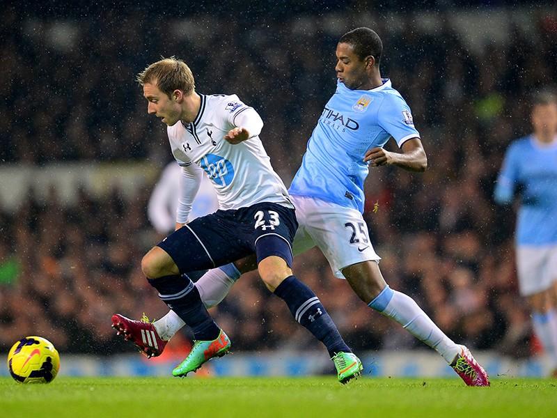 Christian Eriksen; Fernandinho Tottenham Hotspur v Manchester City - English Premier League 01292014