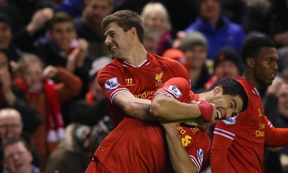 Luis Suarez Steven Gerrard Liverpool Sunderland EPL 03262014