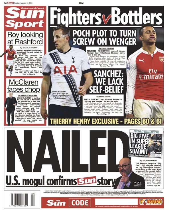 The Sun back page 040316
