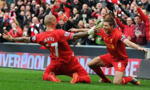 Martin Skrtel Steven Gerrard Liverpool Manchester City English Premier League