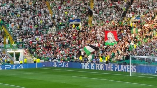 Celtic fans Palestine flags