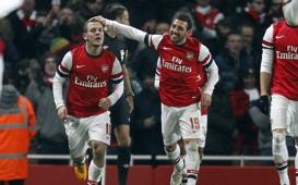 FA Cup, Arsenal v Swansea City, Jack Wilshere (L), Santi Cazorla (R)
