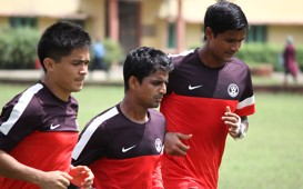 Sunil Chhetri, Mehtab Hossain, Subrata Paul:SAFF Cup 2013