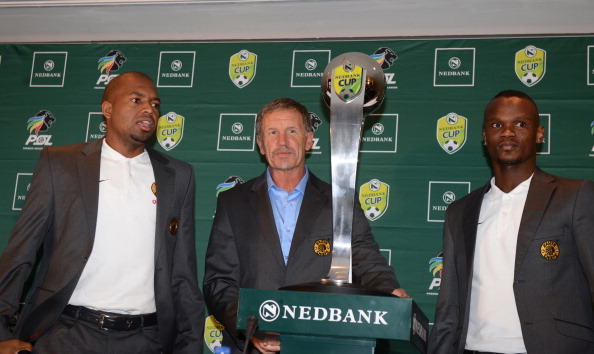 Itumeleng Khune ,Stuart Baxter and Siboniso Gaxa during the Nedbank Cup semi final