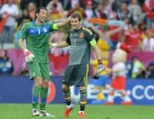 Juventus' Gianluigi Buffon and Real Madrid's Iker Casillas