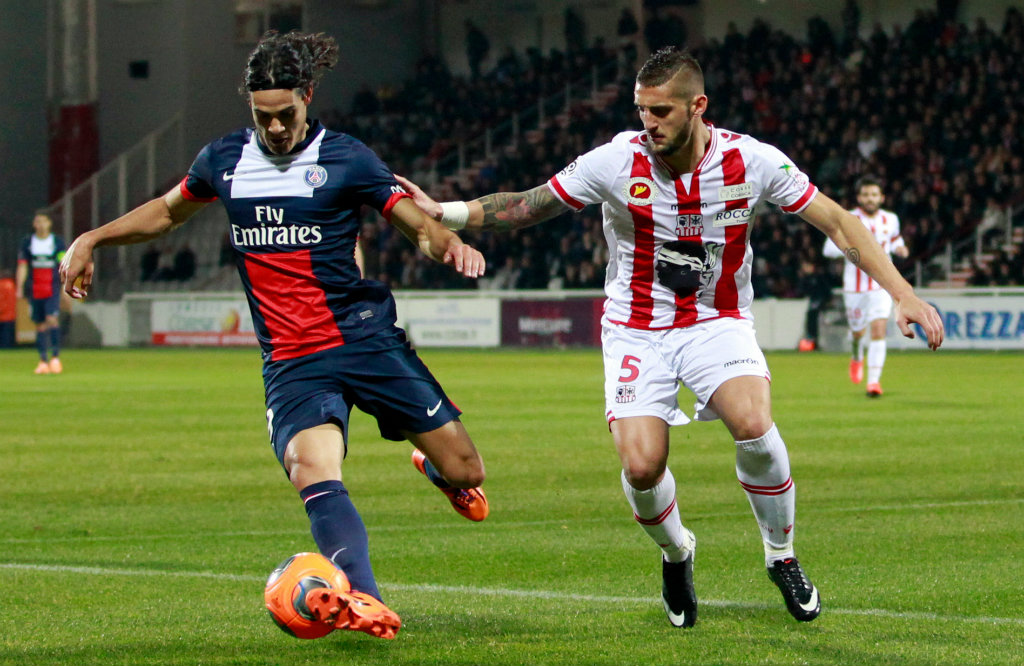 Edinson Cavani Denis Tonucci Ajaccio Paris SG Ligue 1 01112014