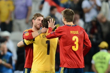 Sergio Ramos, Iker Casillas y Gerard Pique