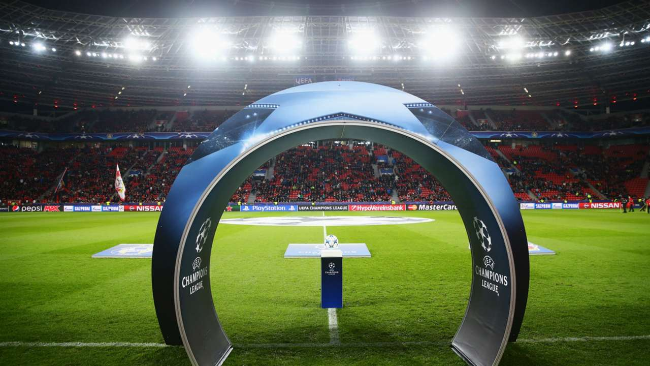 Champions League ball at Bayer Leverkusen's Stadium