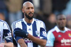 Nicolas Anelka performs a controversial celebration against West Ham