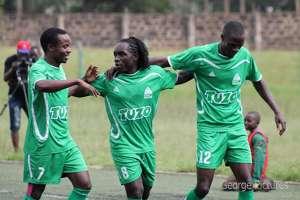 Gor Mahia striker Dan Sserunkuma celebrates against City Stars..