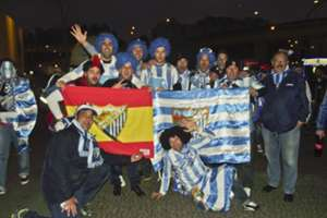Malaga fans before Champions League clash against Porto