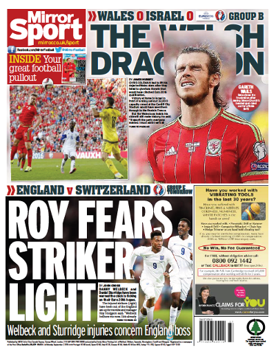 Daily Mirror backpage 07-09-2015
