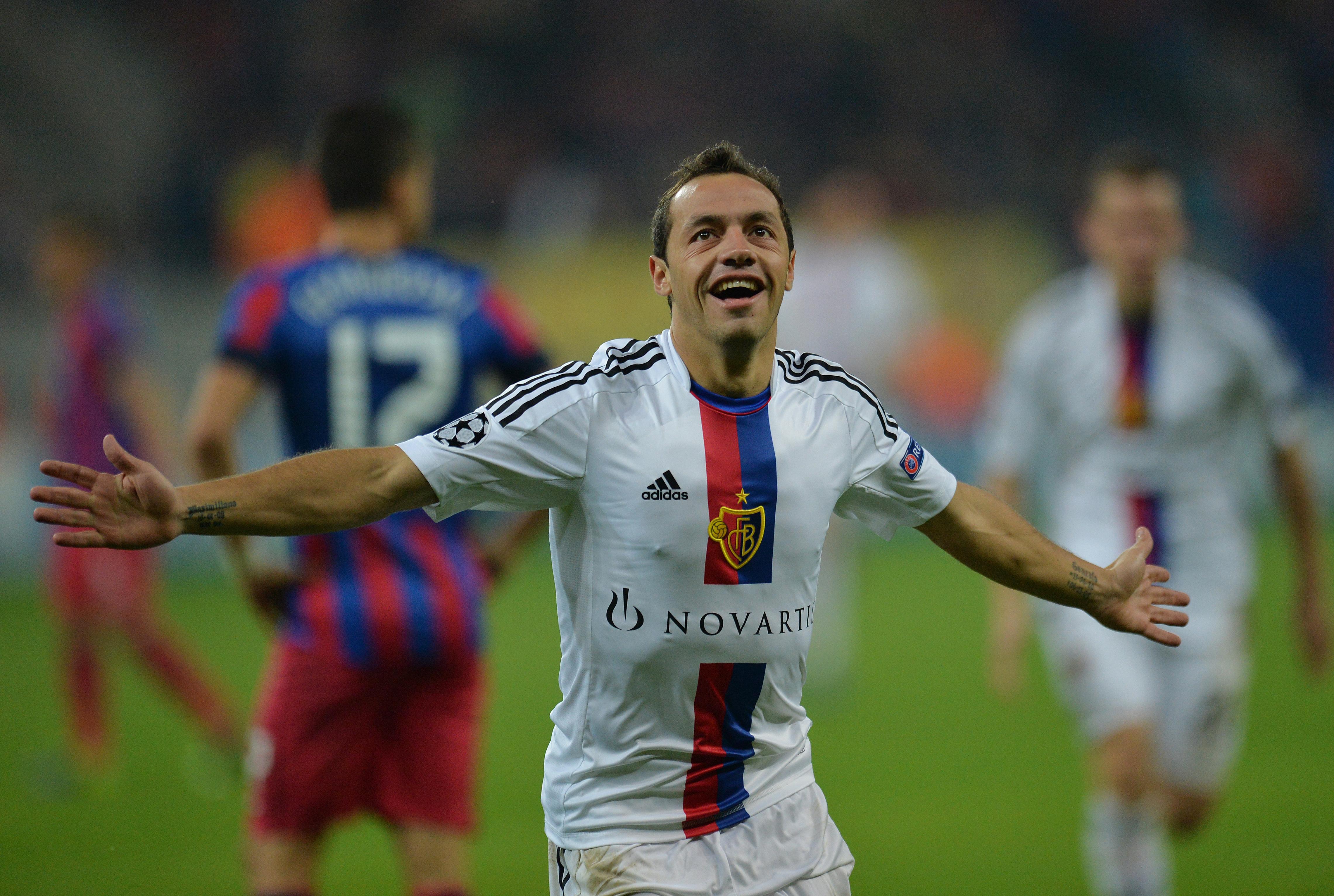 Marcelo Diaz celebrates his goalfor Basel against Steaua Bucharest