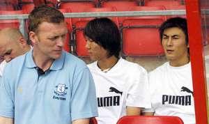 David Moyes , Li Tie and Li Weifeng - Everton