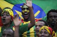 Ethiopia fans celebrate goal against South Africa 16062013