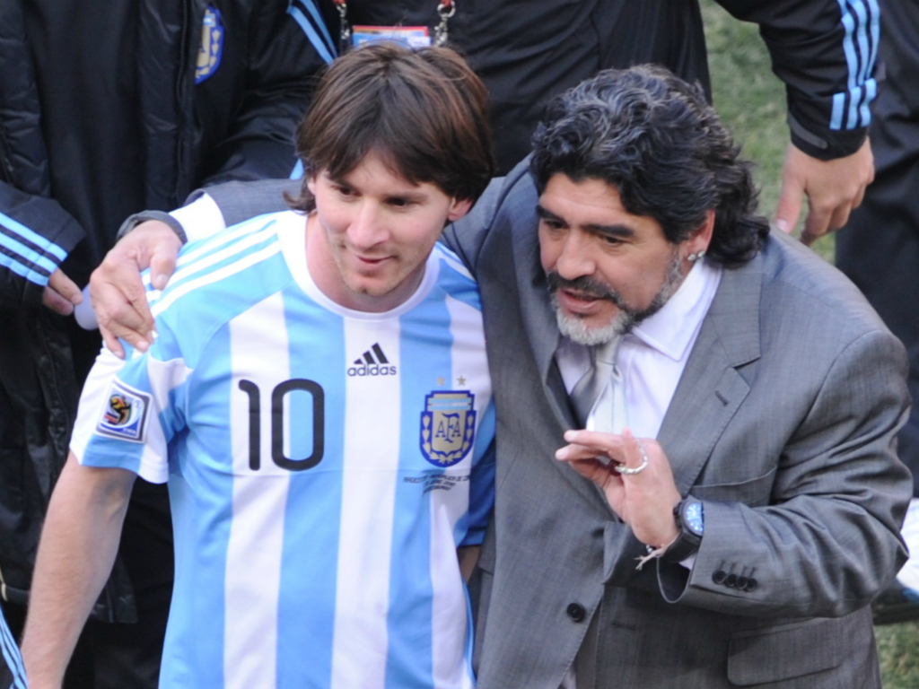 Lionel Messi Diego Maradona Argentina South Korea World Cup 2010 06172010