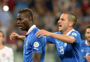 Mario Balotelli and Leonardo Bonucci celebrate for Italy v Czech Republic