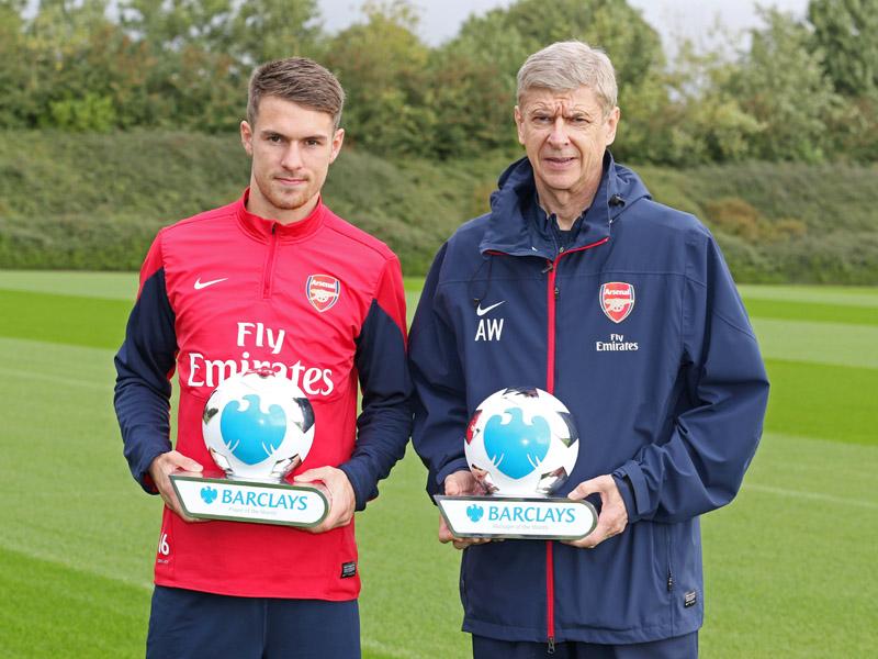 Barclays Monthly Awards Aaron Ramsey Arsene Wenger