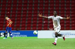 Ebenezer Assifuah celebrating against Portugal