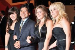 Diego Maradona and ex wife Claudia Villafane and daughters Dalma Nerea and Giannina Dinorah